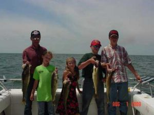 family fishing trip in lake erie